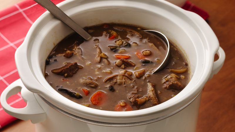 Slow-Cooker Beefy Wild Mushroom and Barley Soup