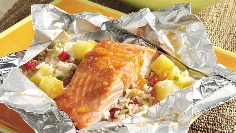 Grilled Caribbean Salmon Packs