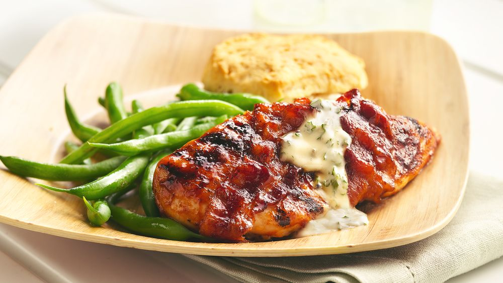 Double Barbecue Bacon-Wrapped Grilled Chicken