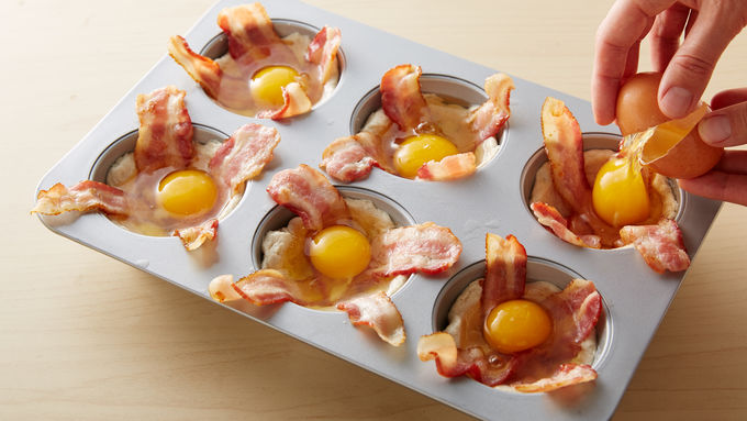 Easy Bacon And Egg Biscuit Cups Recipe Pillsbury Com