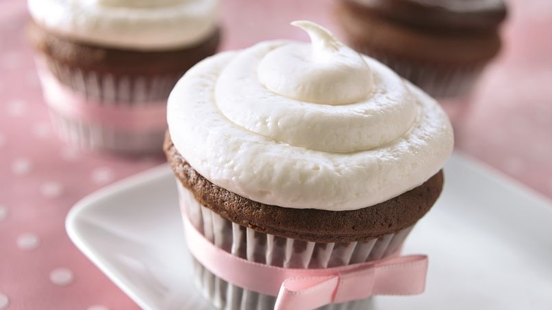 Chocolate Cupcakes with White Truffle Frosting