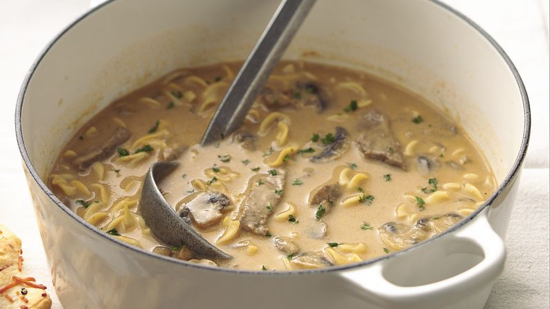 Creamy Beef Mushroom And Noodle Soup Recipe Bettycrocker Com