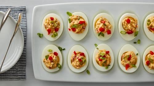 pimiento cheese deviled eggs recipe bettycrockercom - Christmas Deviled Eggs