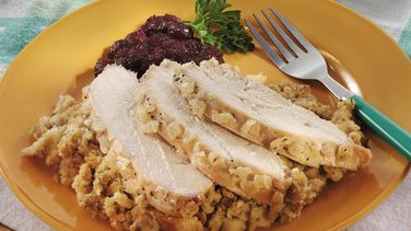 Slow-Cooker Turkey and Stuffing with Onion Glaze