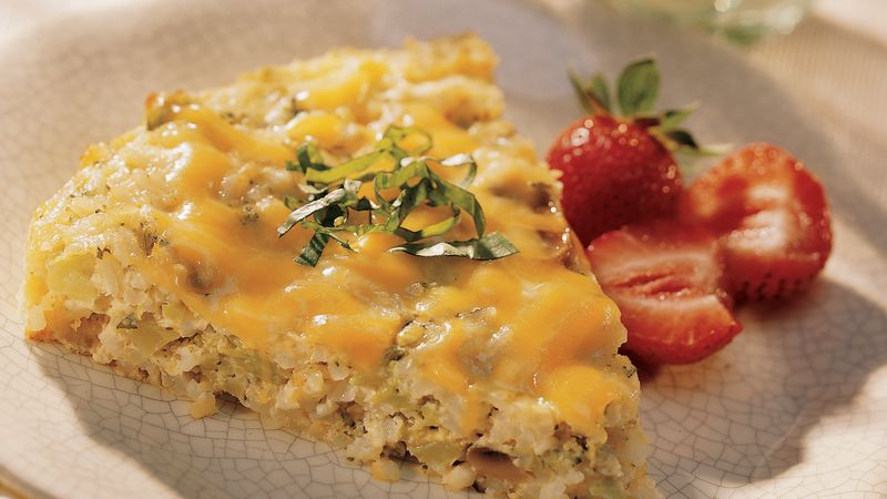 Cheesy Egg and Rice Bake