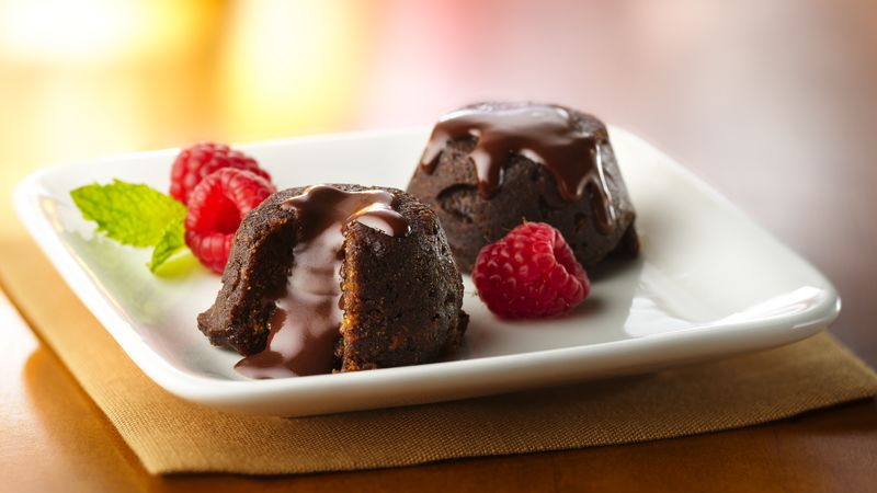 Fudgy Molten Brownie Cups with Raspberries