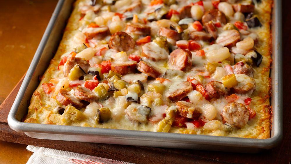 New Orleans Andouille Shrimp Pizza