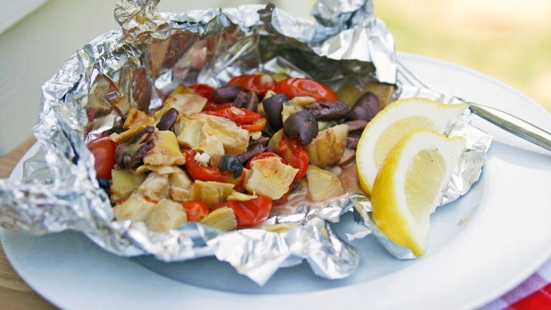 Grilled Mediterranean Tilapia Foil Packs