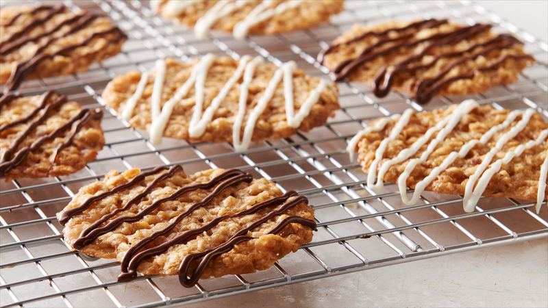 Chocolate Drizzled Oatmeal Lace Cookies