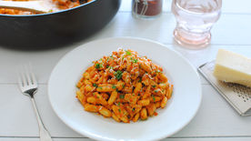 Cavatelli with Chicken in a Creamy Roasted Red Pepper Sauce