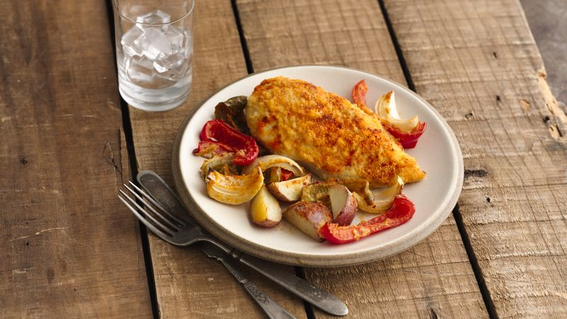 easy baked chicken and potato dinner for two recipe bettycrocker com