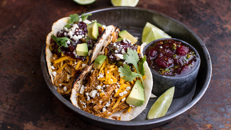 Slow-Cooker Chipotle-Cheddar-Pumpkin Tacos with Cranberry Salsa
