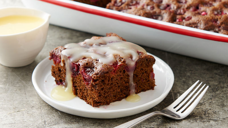Cranberry Molasses Cake with Sweet Butter Sauce