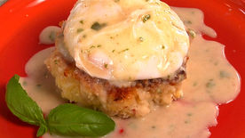 Crab Cakes Benedict with Lightened Lemon-Basil Hollandaise Sauce