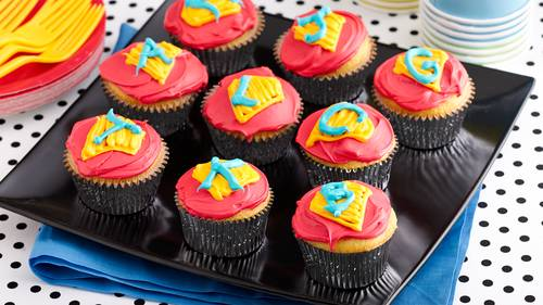 birthday cupcake ideas Superhero Cupcakes Recipe   BettyCrocker.com birthday cupcake ideas