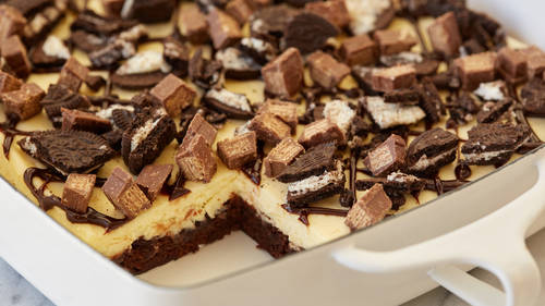 Kit Kat™ and Oreo™ Cheesecake Brownie Bars