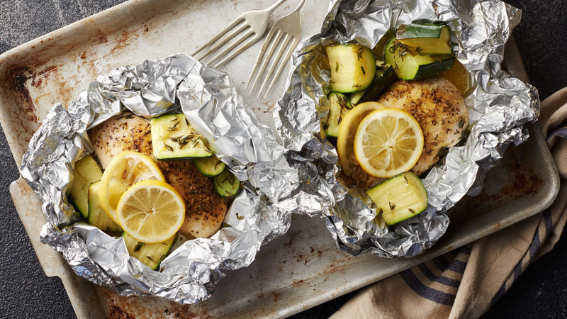 Lemon Chicken and Zucchini Foil Packs