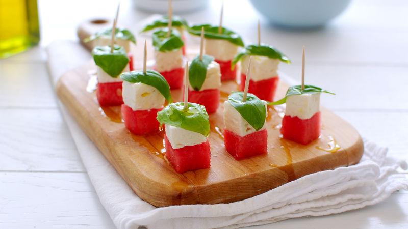 Watermelon Feta Caprese Bites