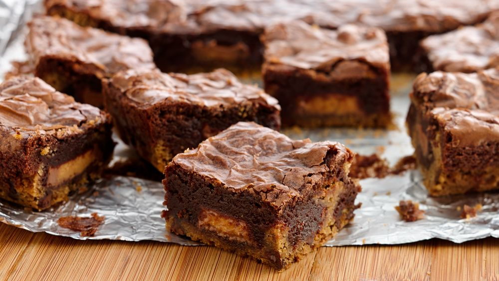 Peanut Butter Cup Cookie Dough Brownies