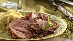 Pesto and Pepper-Stuffed Leg of Lamb