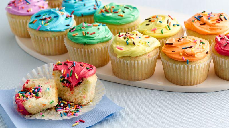 Double Rainbow Cupcakes Recipe Bettycrocker Com