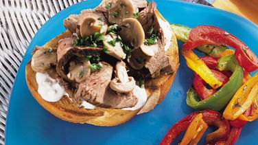 Flank Steak and Mushrooms on Sourdough Bread with Blue Cheese Sauce
