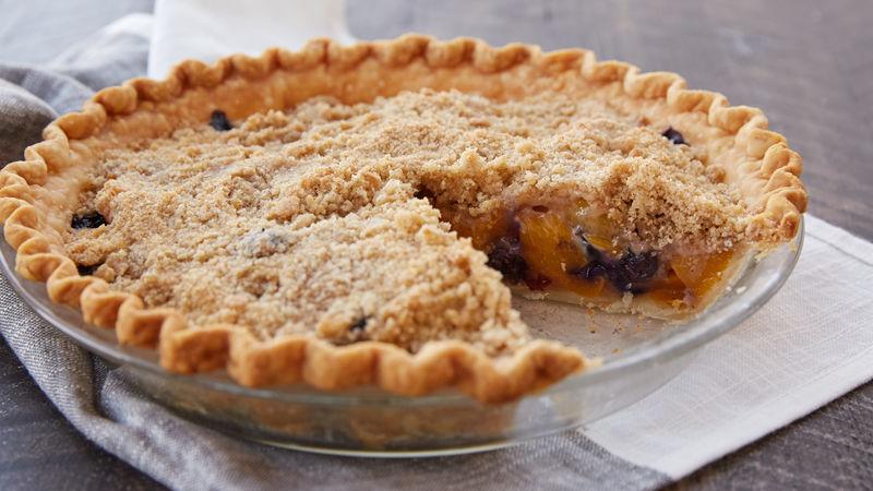 Streusel Topped Peach Blueberry Pie Recipe Pillsbury Com
