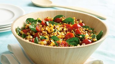 Wheat Berry, Grilled Corn and Spinach Salad