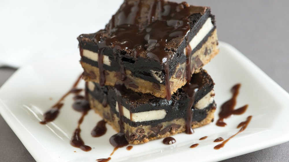 Triple Decker Brownies with Bourbon Chocolate Sauce
