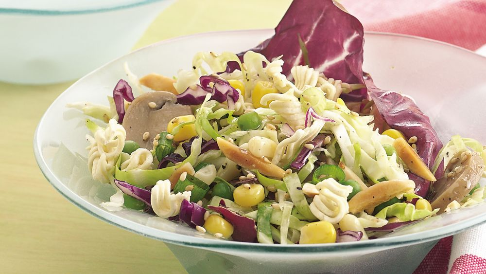 Cabbage Salad Vinaigrette with Crunchy Noodles