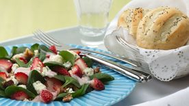 Strawberry Spinach Salad with Poppy Seed French Rolls