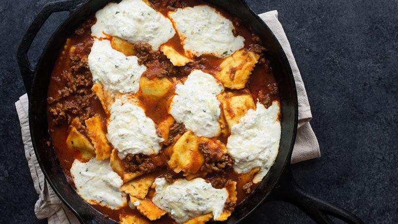 Easy Skillet Ravioli Lasagna