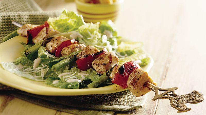 Grilled Chicken Kabob Caesar Salad