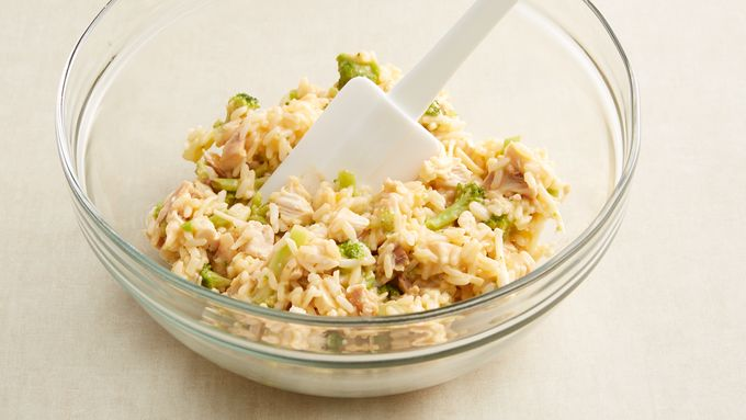 In Medium Bowl Mix Rice Broccoli Chicken And Monterey Jack Cheese