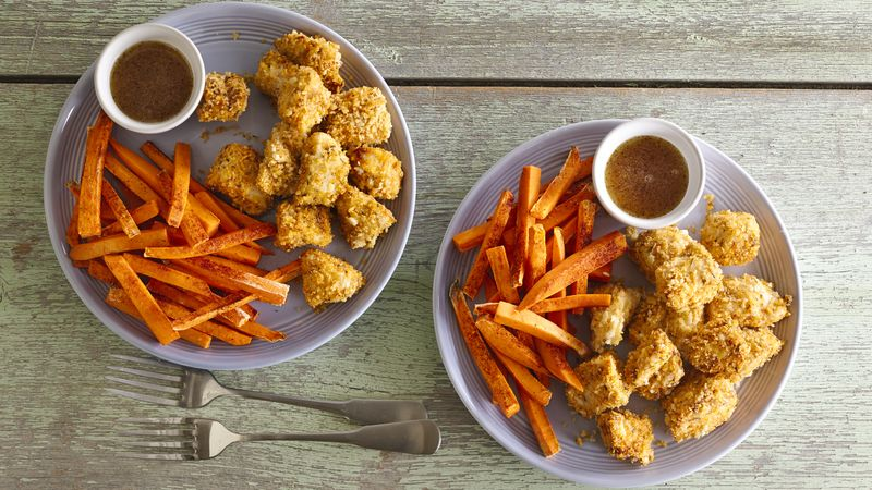 Skinny Popcorn Chicken with Sweet Potato Fries