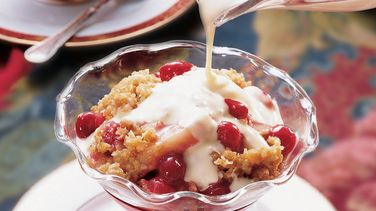Apple-Cranberry Crisp with Eggnog Sauce