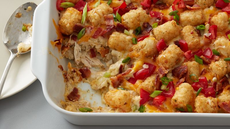Sep 16, · Crock Pot Cheesy Chicken, Bacon, & Tater Tot Bake is a delicious and super easy meal to put together. Your whole family will love it! Crock Pot Cheesy Chicken, Bacon, & Tator Tots is a delicious and super easy meal to put together!/5().