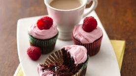 Mini Raspberry-Filled Chocolate Cupcakes