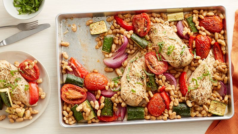 Tuscan Chicken Breasts And Vegetables Sheet Pan Dinner Recipe Bettycrocker Com