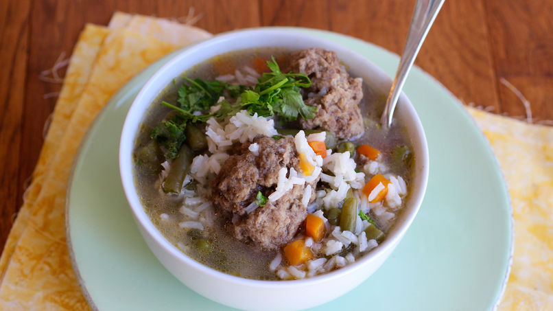 Lamb Meatballs and Rice Soup