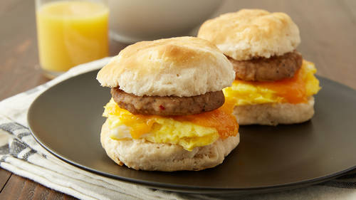 Sausage Egg And Cheese Breakfast Sandwiches For Two