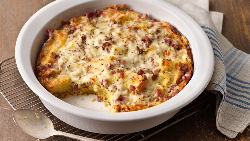 Ham and Cheese Croissant Casserole