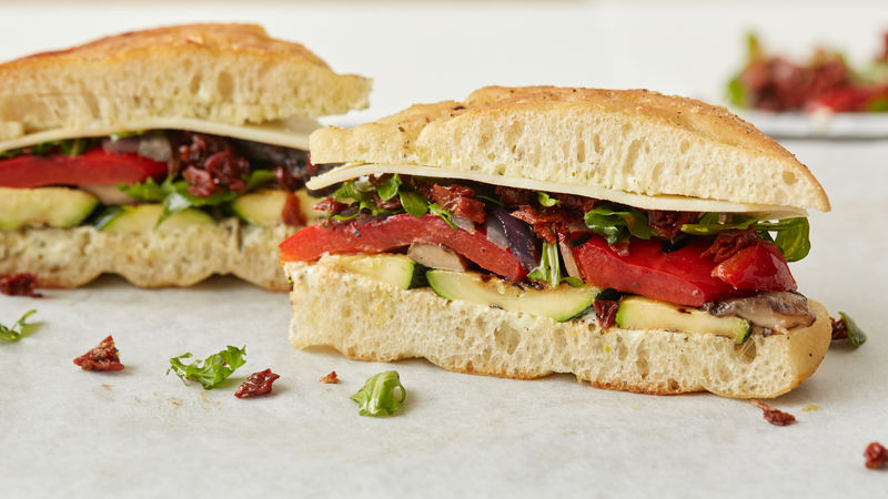 Grilled Vegetable Focaccia Sandwiches Recipe Tablespoon Com