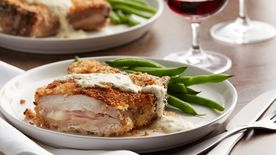 Ham and Cheese-Stuffed Pork Chops with Dijon Sauce (Cooking for 2)