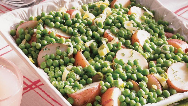 Minted Potatoes, Peas and Leeks