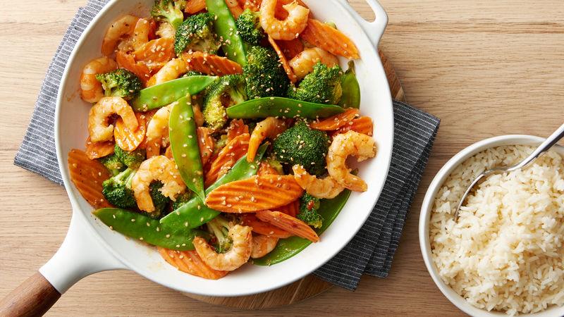 Sesame Shrimp Stir-Fry Skillet