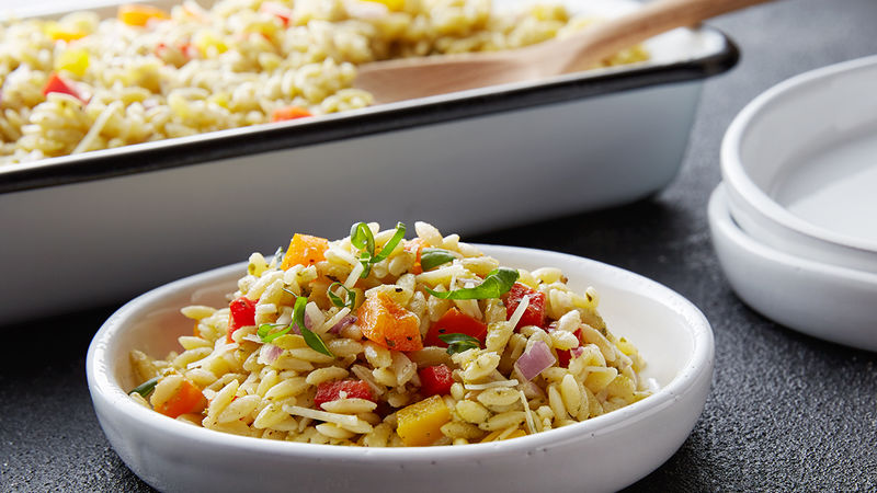Italian Pesto and Pepper Orzo Salad
