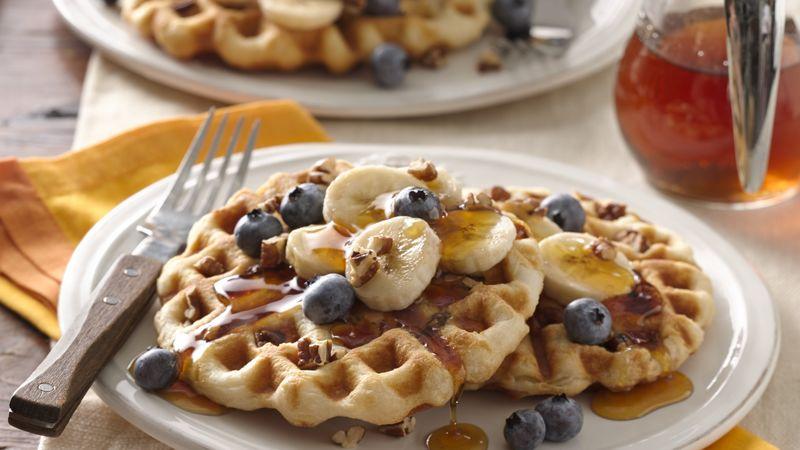 Pecan Biscuit Waffles For Two Recipe Pillsbury Com