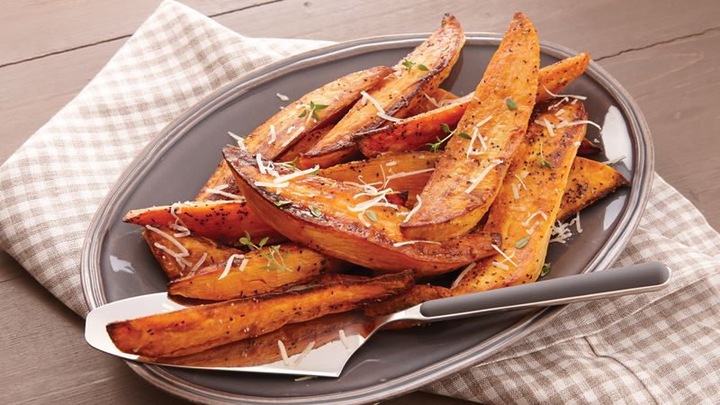 Roasted Sweet Potato Wedges Recipe Bettycrocker Com