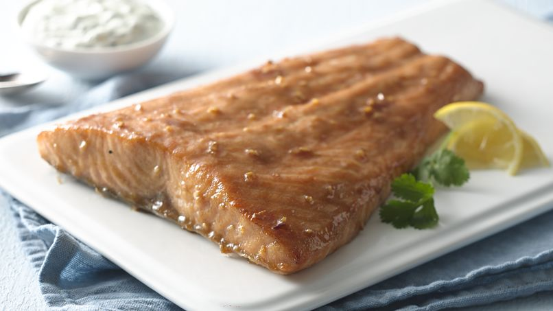 Honey Mustard-Glazed Salmon with Parsley-Cilantro Aioli